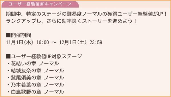 ユーザ経験値UPCP~12/1