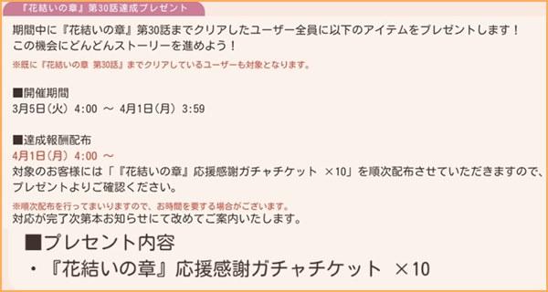 30話達成プレゼント~4/1
